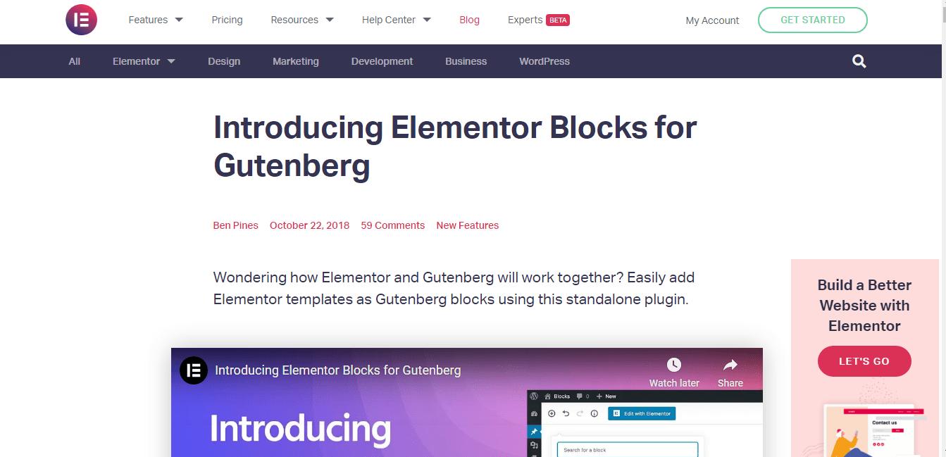 Introduction of Elementor Blocks