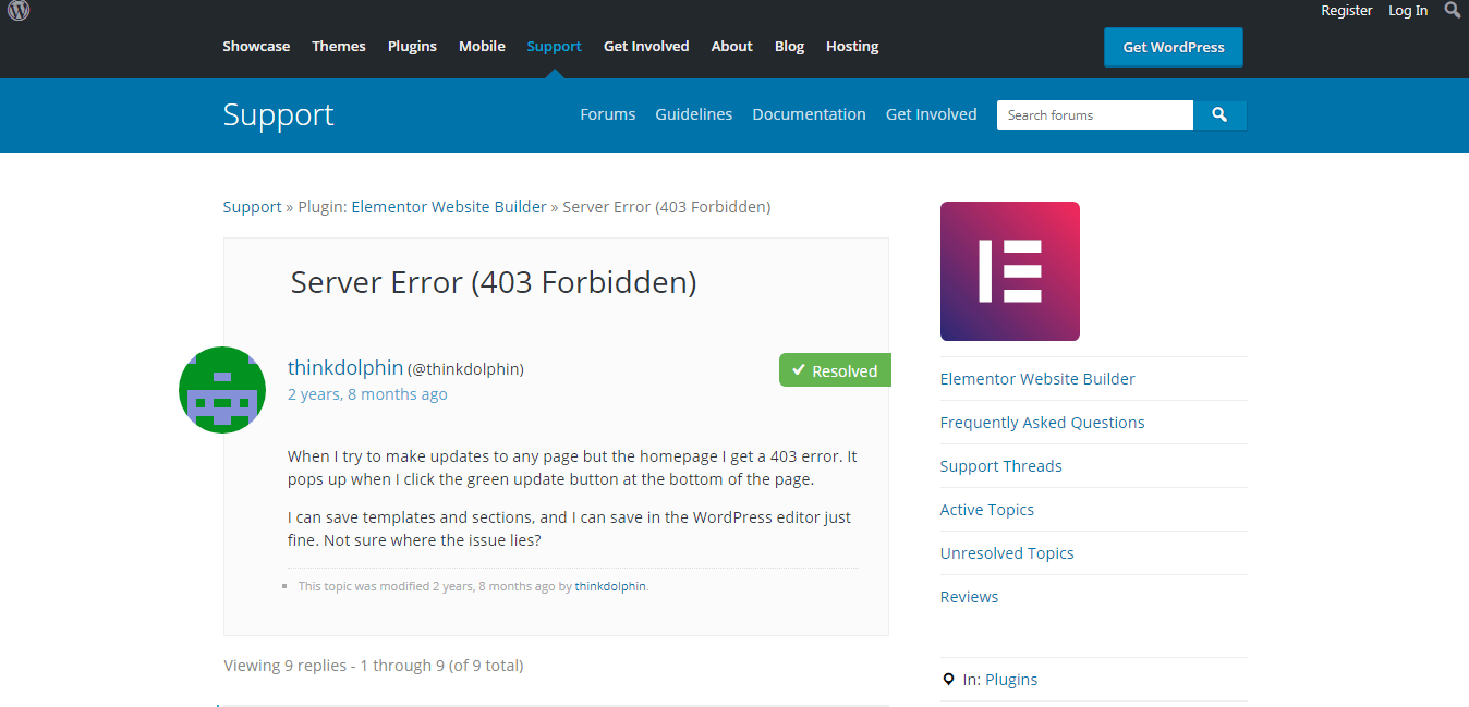 Elementor Forbidden Error 403-Server Error