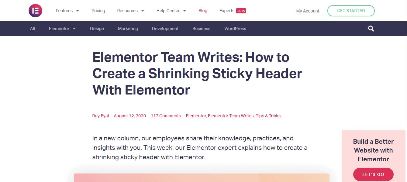 Elementor Sticky Header-About