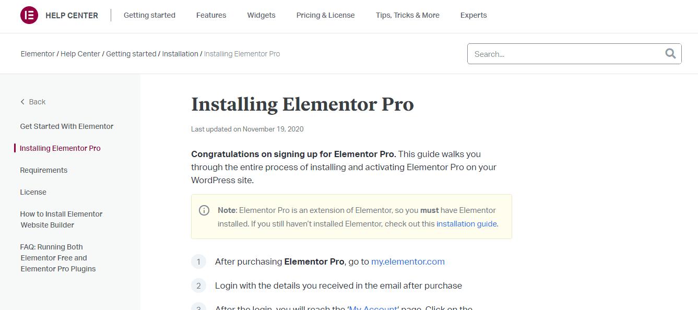 Installing Elementor Pro