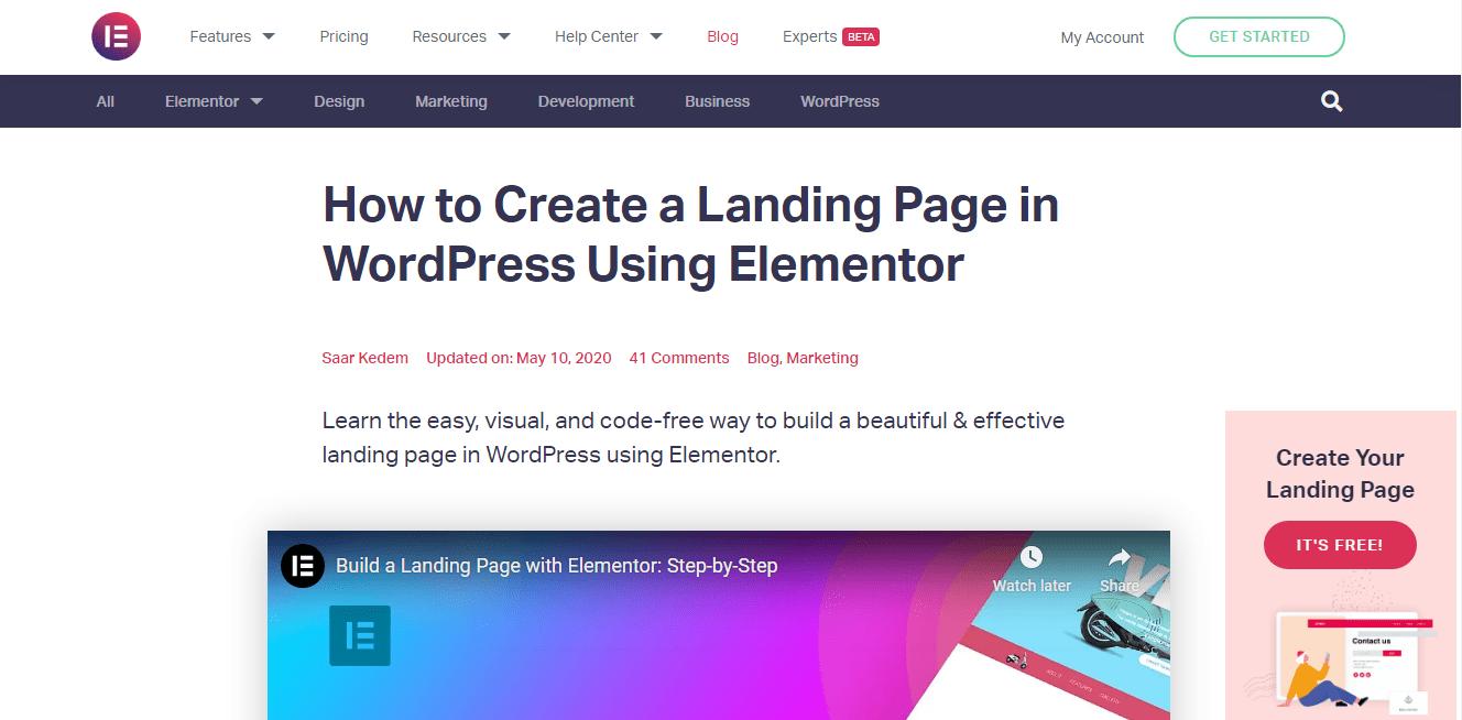 Create Landing Page Using Elementor