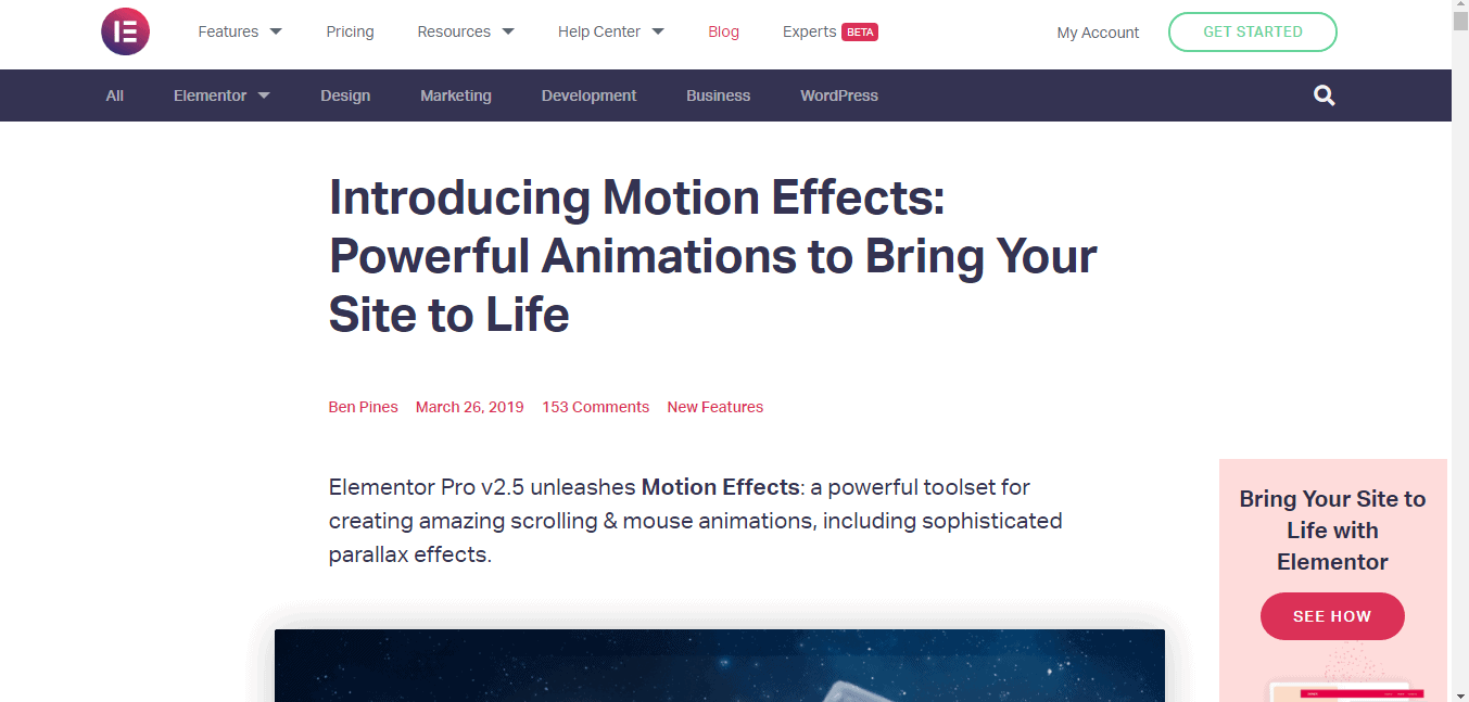 Elementor Pro Features-Animation
