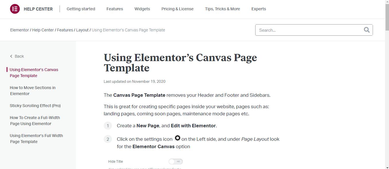 Elementor Canvas