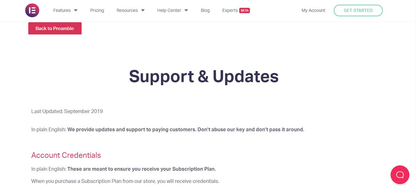 Elementor-Customer Support