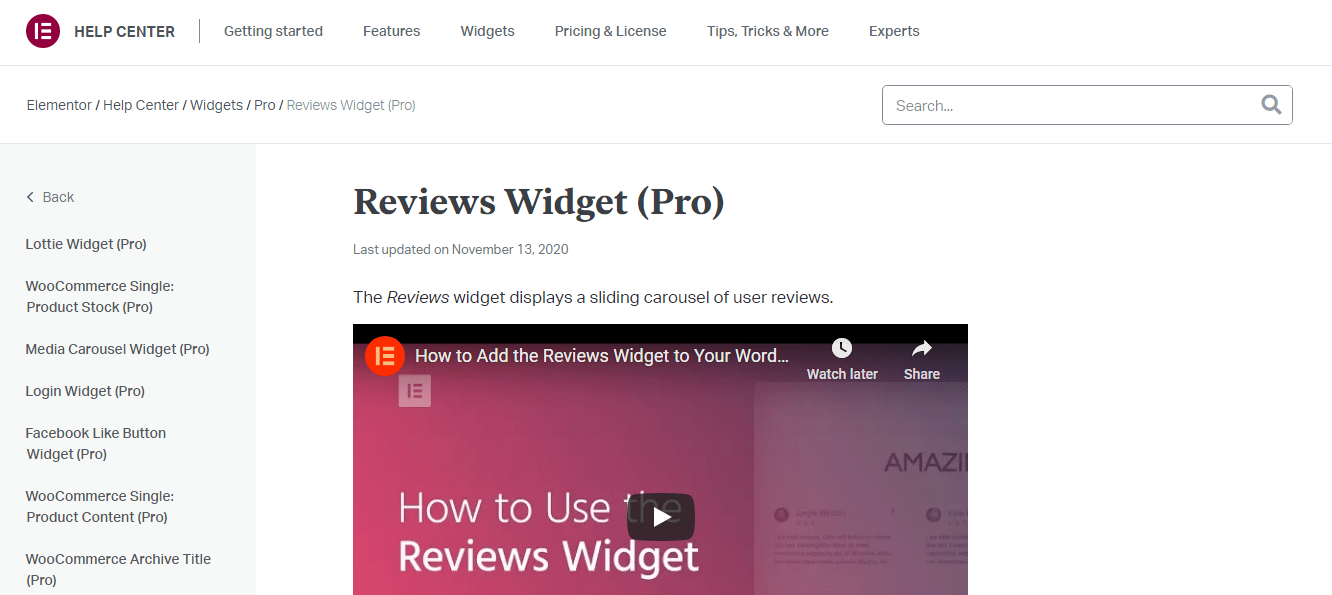 Elementor Pro Review-Widgets