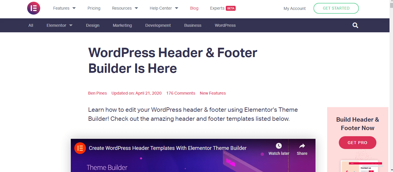 WordPress Header & Footer