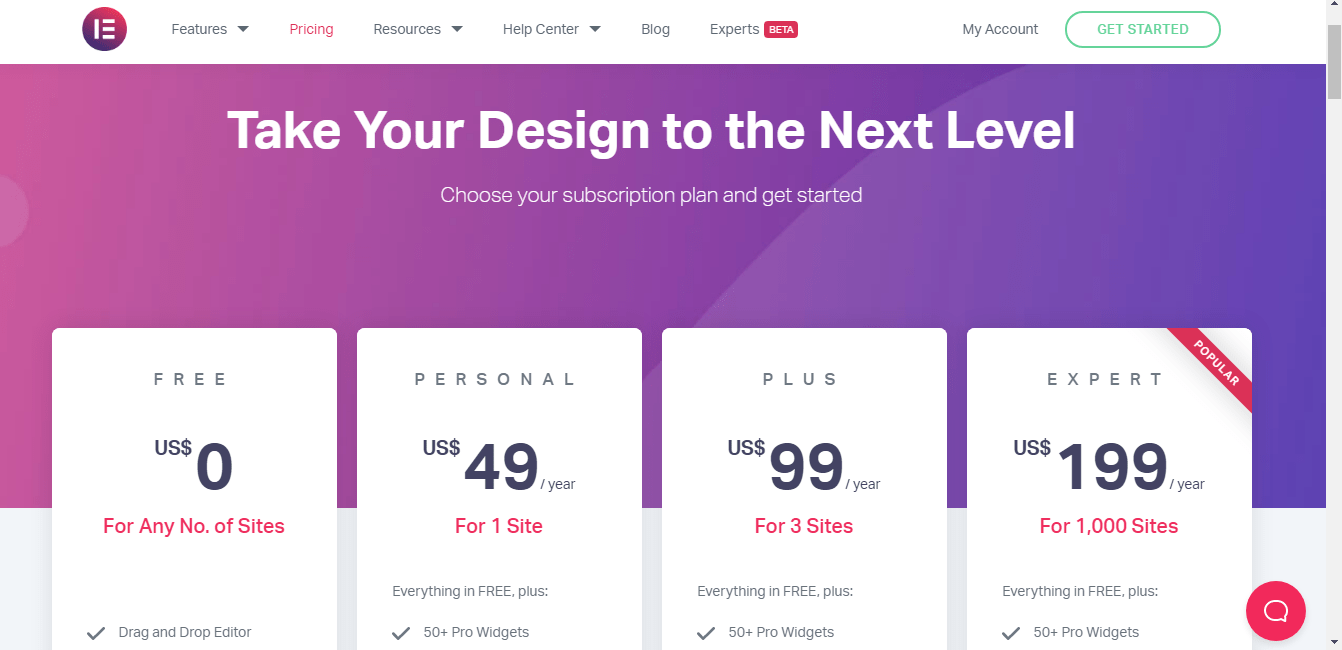 The pricing plan of Elementor pro