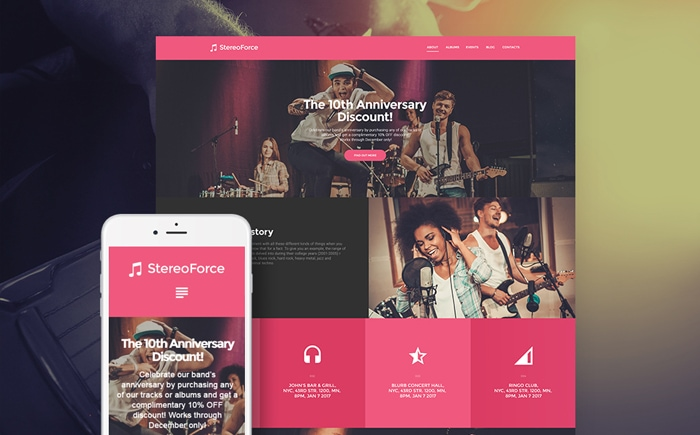 Best Pink WordPress Themes - StereoForce
