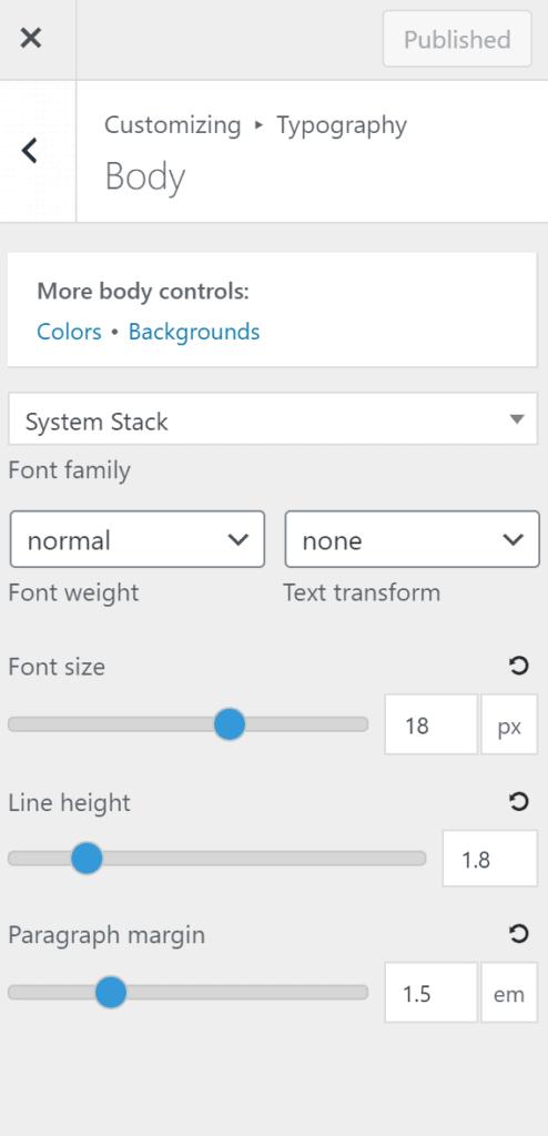 GeneratePress typography settings- Review of GeneratePress theme
