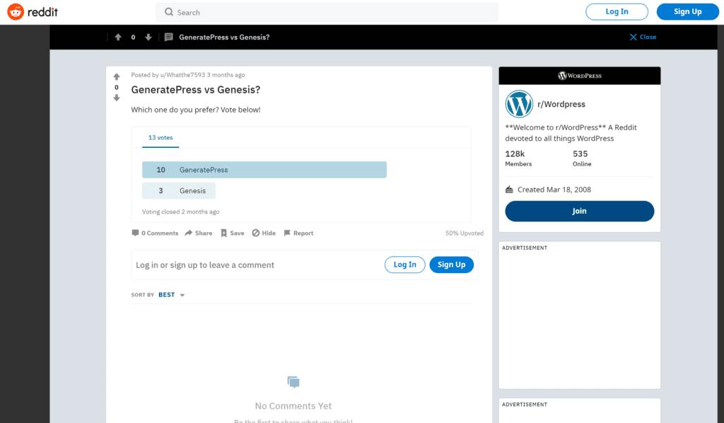 GeneratePress-vs-Genesis-Wordpress reddit reviews