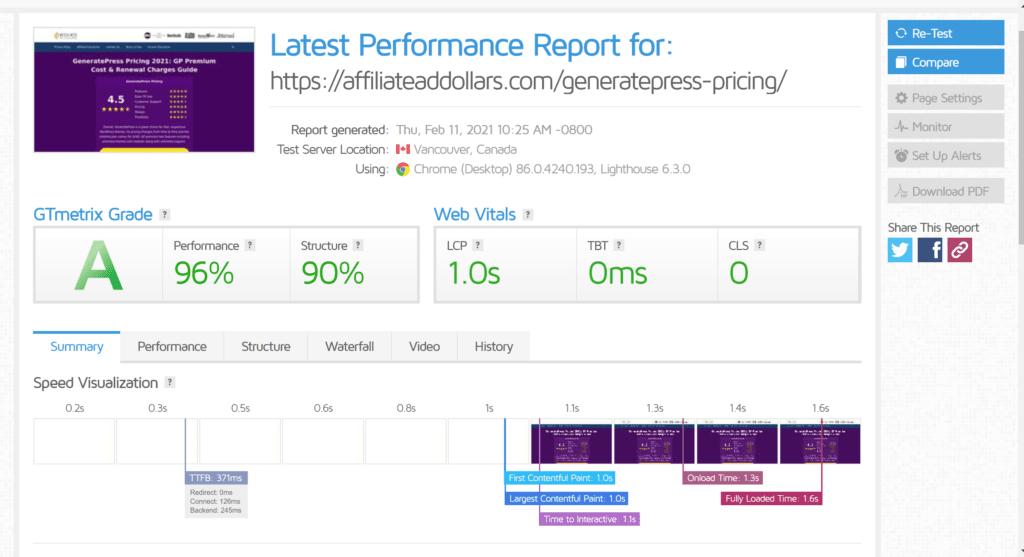 Generatepress speed test - Generatepress review