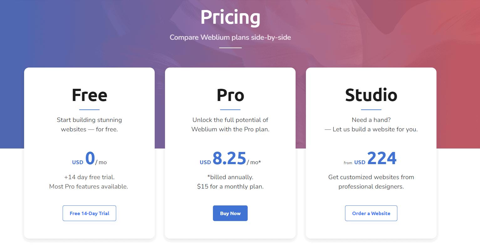 Weblium Pricing Plans